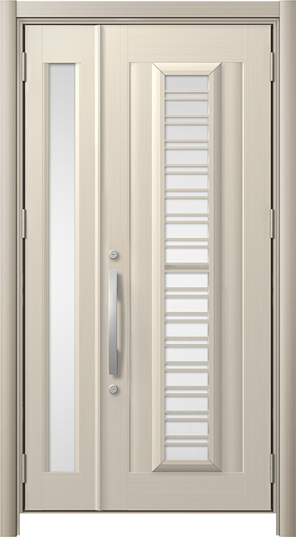 リシェントC83N型 アルミ色  親子ドア ランマ無し アルミ仕様 採風タイプ