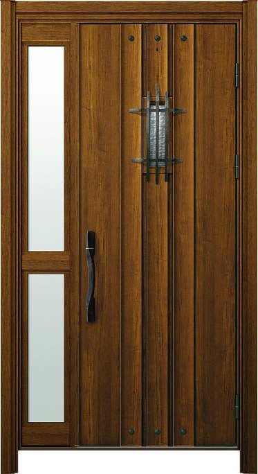 かんたんドアリモ 玄関ドア 断熱タイプ M02V ランマ無 片袖FIX(中桟付) 外額縁77 YF ピタットKey 洋風カーブ Aタイプ NO.1247