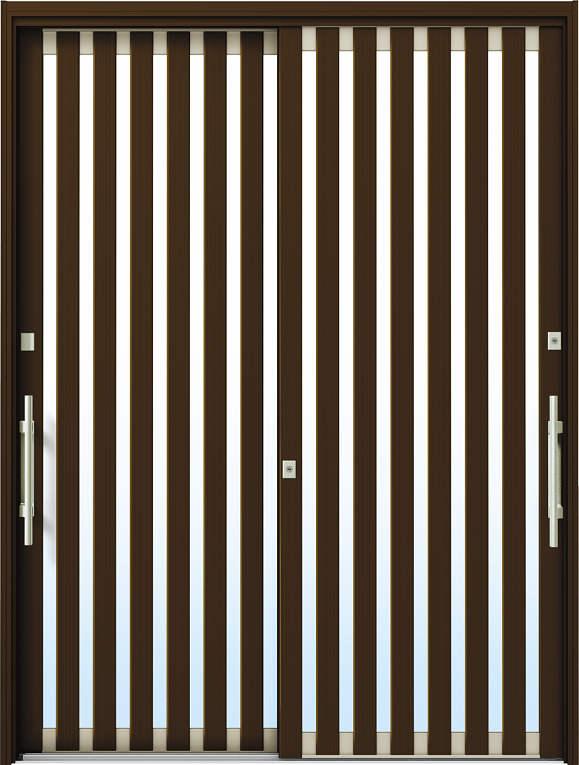 かんたんドアリモ 玄関引戸 現代和風 C01 ランマ無 B1:ブラウン 外側バーハンドル(シルバー)複層・単板ガラス仕様 NO.1091