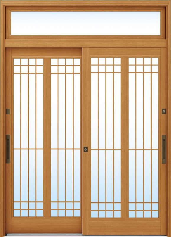 かんたんドアリモ 玄関引戸 伝統和風 A13 ランマ付 LC:新槇 舟底引手(ブラウン)複層・単板ガラス仕様 NO.1099