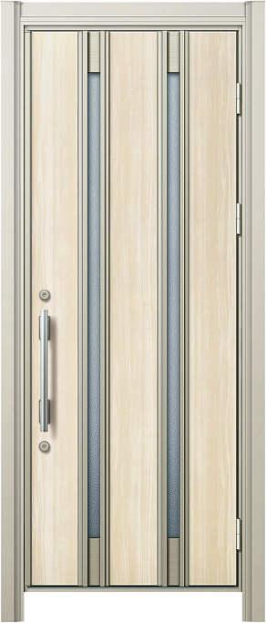 かんたんドアリモ 玄関ドア 断熱タイプ S21V ランマ無 片開き 外額縁77 AR 丸型ストレート シルバー Bタイプ NO.1194