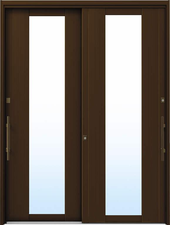 かんたんドアリモ 玄関引戸 洋風ベーシック B01 ランマ無 B1:ブラウン 外側バーハンドル(ブロンズ)複層・単板ガラス仕様 NO.1035