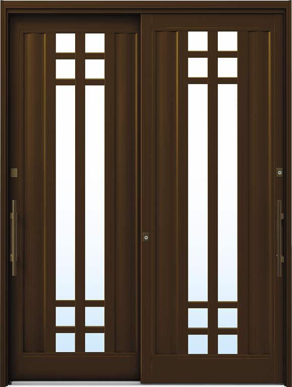 かんたんドアリモ 玄関引戸 洋風ベーシック B09 ランマ無 B1:ブラウン 外側バーハンドル(ブロンズ)複層・単板ガラス仕様 NO.1034