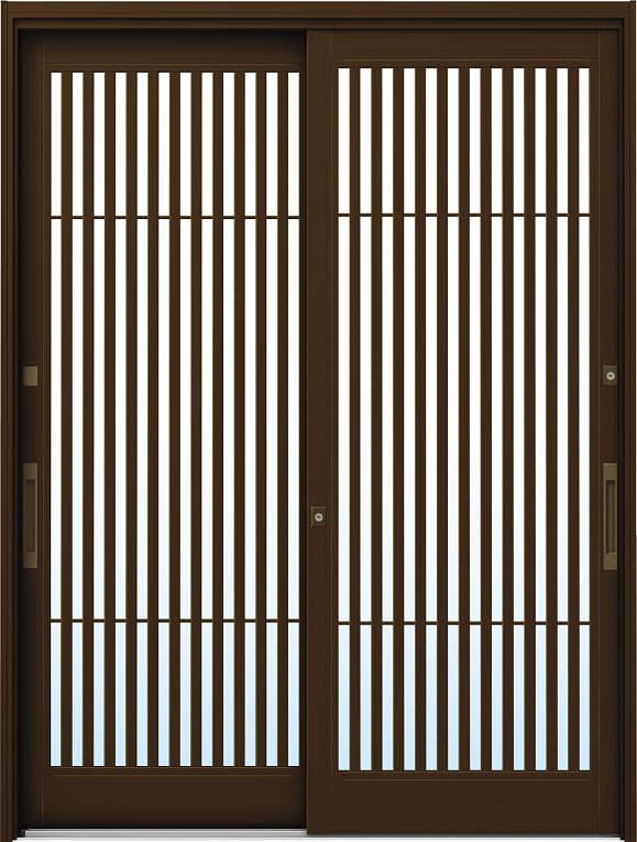 かんたんドアリモ 玄関引戸 伝統和風 A02 ランマ無 B1:ブラウン 舟底引手(ブラウン)複層・単板ガラス仕様 NO.1001