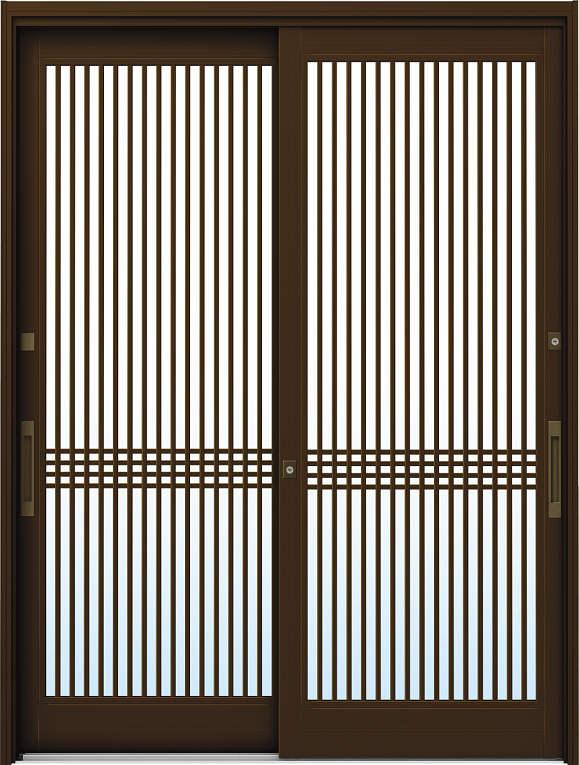 かんたんドアリモ 玄関引戸 伝統和風 A03 ランマ無 B1:ブラウン 舟底引手(ブラウン)複層ガラス仕様 NO.1018