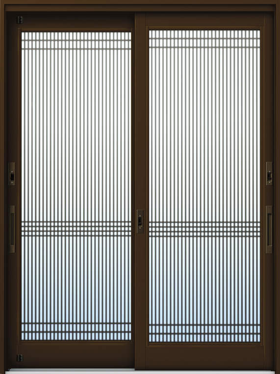 かんたんドアリモ 玄関引戸 伝統和風 A05 ランマ無 B1:ブラウン 舟底引手(ブラウン)複層・単板ガラス仕様 NO.1002
