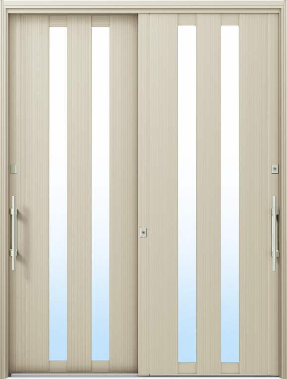 かんたんドアリモ 玄関引戸 洋風ベーシック B02 ランマ無 H2:プラチナステン 外側バーハンドル(シルバー)複層・単板ガラス仕様 NO.1045