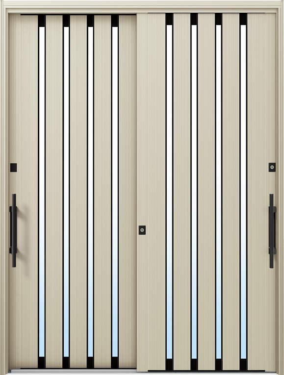 かんたんドアリモ 玄関引戸 現代和風 C02 ランマ無 H2:プラチナステン 外側バーハンドル(ブラック)複層・単板ガラス仕様 NO.1044
