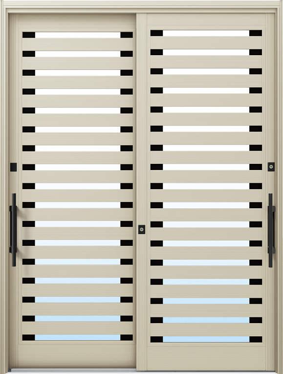 かんたんドアリモ 玄関引戸 現代和風 C09 ランマ無 H2:プラチナステン 外側バーハンドル(ブラック)複層ガラス仕様 NO.1047