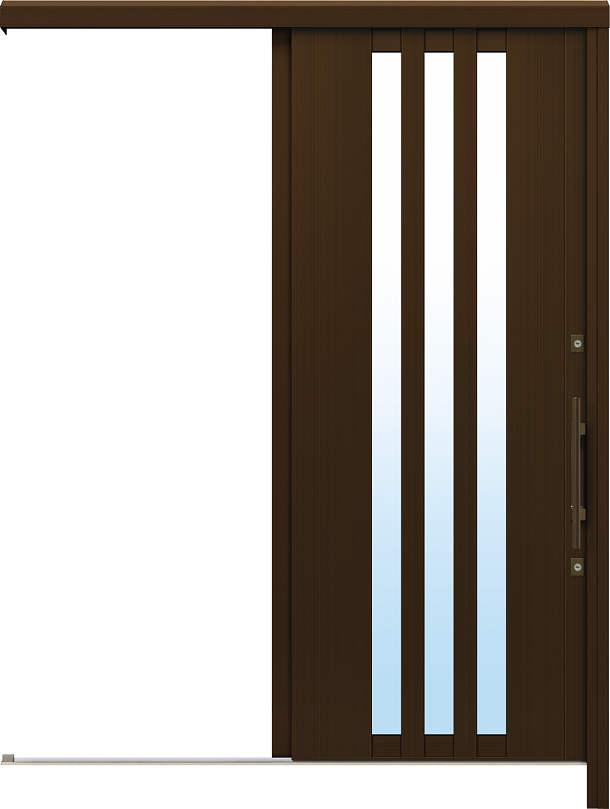 かんたんドアリモ アウトセット玄関引戸 片引込み戸(袖無) 外額縁(小) 洋風ベーシック B03 B1 外側バーハンドル(ブロンズ) NO.1007