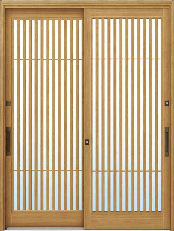 かんたんドアリモ 玄関引戸 伝統和風 A02 ランマ無 LG:ひのき 舟底引手(ブラウン)複層・単板ガラス仕様 NO.1019
