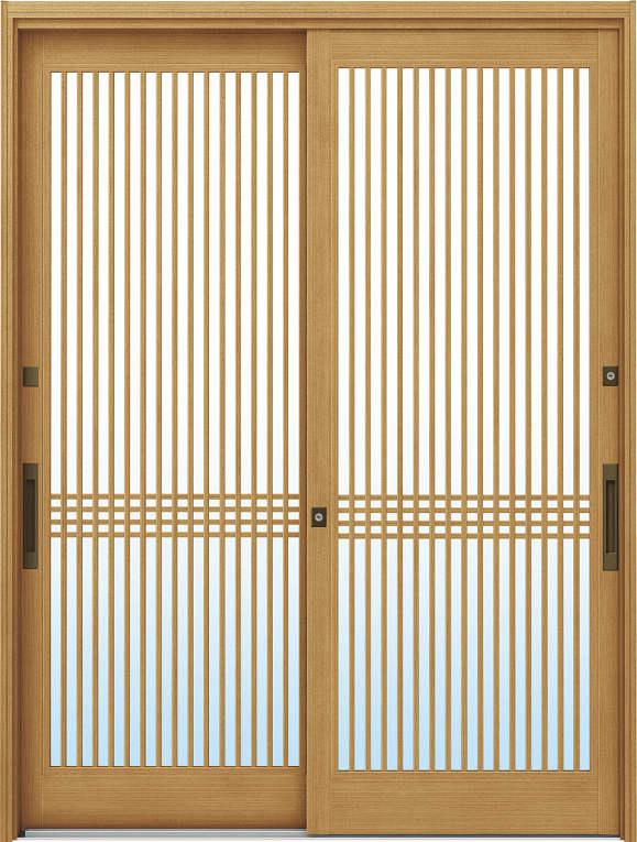 かんたんドアリモ 玄関引戸 伝統和風 A02 ランマ無 LG:ひのき 舟底引手(ブラウン)複層・単板ガラス仕様 NO.1011