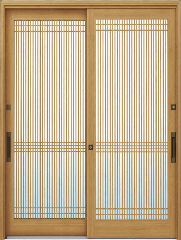 かんたんドアリモ 玄関引戸 伝統和風 A05 ランマ無 LG:ひのき 舟底引手(ブラウン)複層・単板ガラス仕様 NO.1031