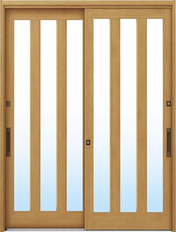 かんたんドアリモ 玄関引戸 伝統和風 A07 ランマ無 LG:ひのき 舟底引手(ブラウン)複層・単板ガラス仕様 NO.1017
