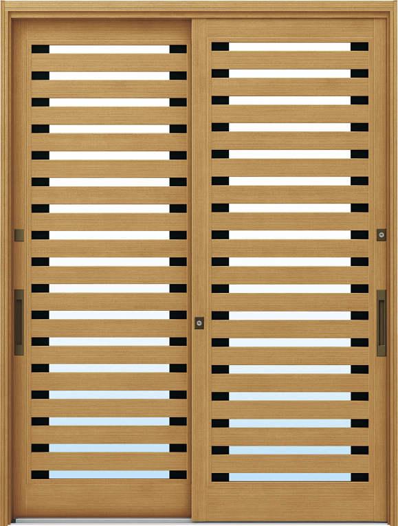 かんたんドアリモ 玄関引戸 伝統和風 A09 ランマ無 LG:ひのき 舟底引手(ブラウン)複層ガラス仕様 NO.1056