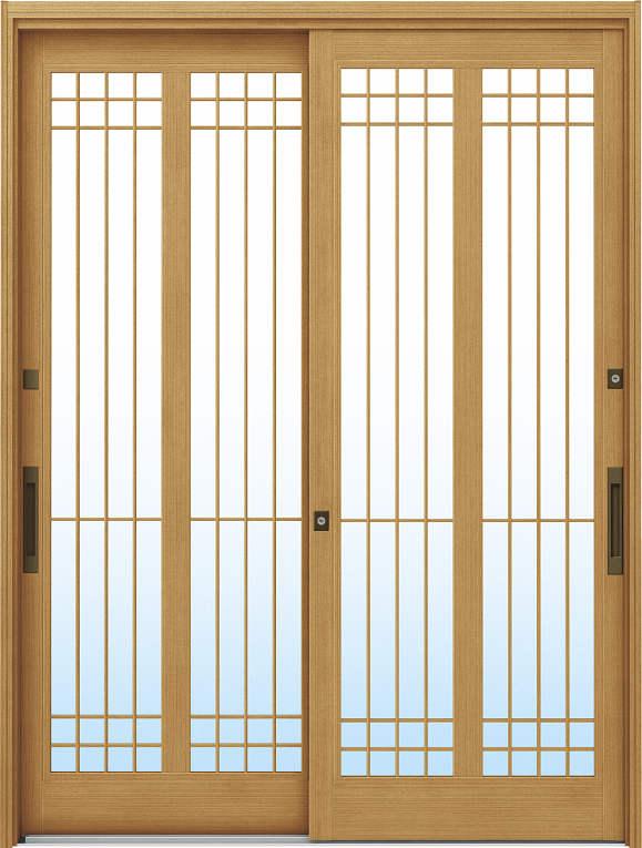 かんたんドアリモ 玄関引戸 伝統和風 A13 ランマ無 LG:ひのき 舟底引手(ブラウン)複層・単板ガラス仕様 NO.1026