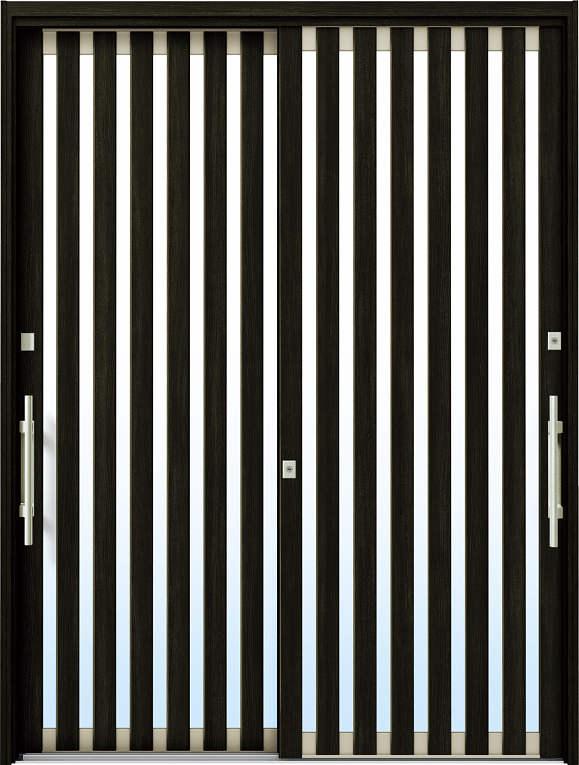 かんたんドアリモ 玄関引戸 現代和風 C01 ランマ無 W6:桑炭 外側バーハンドル(シルバー)複層・単板ガラス仕様 NO.1063