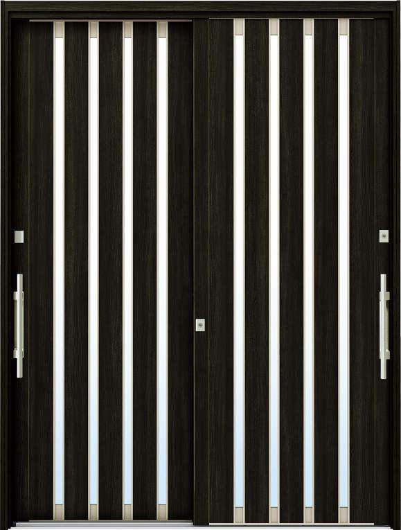 かんたんドアリモ 玄関引戸 現代和風 C02 ランマ無 W6:桑炭 外側バーハンドル(シルバー)複層・単板ガラス仕様 NO.1071