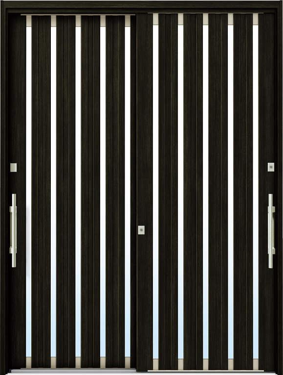 かんたんドアリモ 玄関引戸 現代和風 C03 ランマ無 W6:桑炭 外側バーハンドル(シルバー)複層・単板ガラス仕様 NO.1072