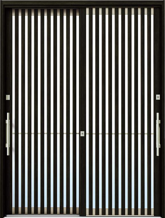 かんたんドアリモ 玄関引戸 現代和風 C04 ランマ無 W6:桑炭 外側バーハンドル(シルバー)複層・単板ガラス仕様 NO.1081
