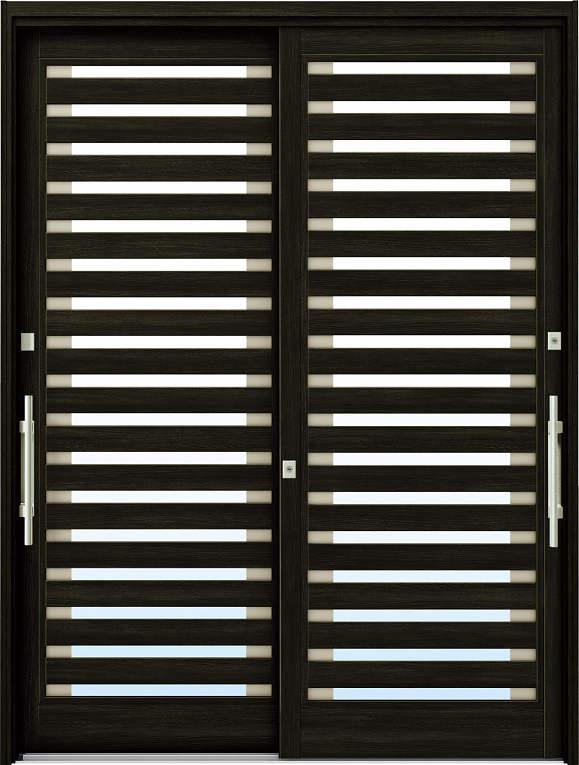 かんたんドアリモ 玄関引戸 現代和風 C09 ランマ無 W6:桑炭 外側バーハンドル(シルバー)複層ガラス仕様 NO.1070