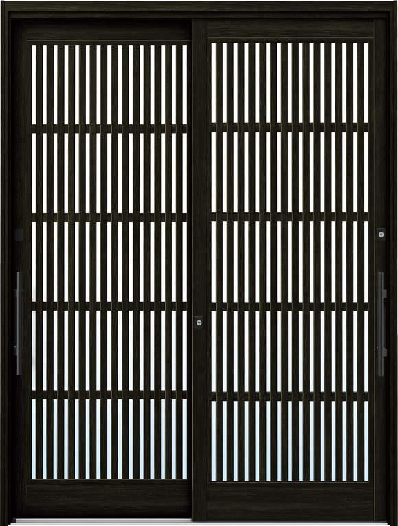かんたんドアリモ 玄関引戸 現代和風 C10 ランマ無 W6:桑炭 外側バーハンドル(ブラック)複層・単板ガラス仕様 NO.1065