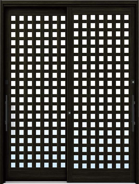 かんたんドアリモ 玄関引戸 現代和風 A11 ランマ無 W6:桑炭 外側バーハンドル(ブラック)複層・単板ガラス仕様 NO.1066