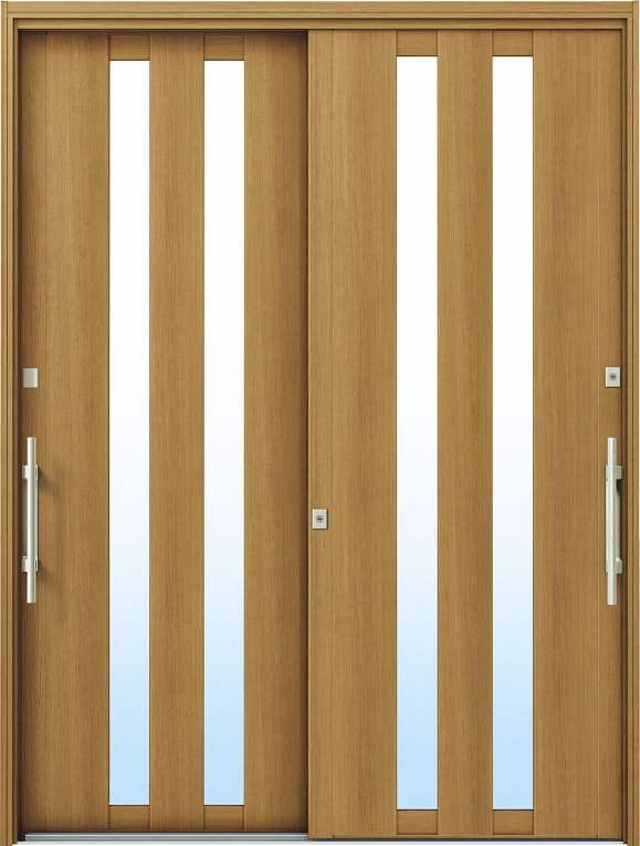 かんたんドアリモ 玄関引戸 洋風ベーシック B02 ランマ無 W7:ハニーチェリー 外側バーハンドル(シルバー)複層・単板ガラス仕様 NO.1075