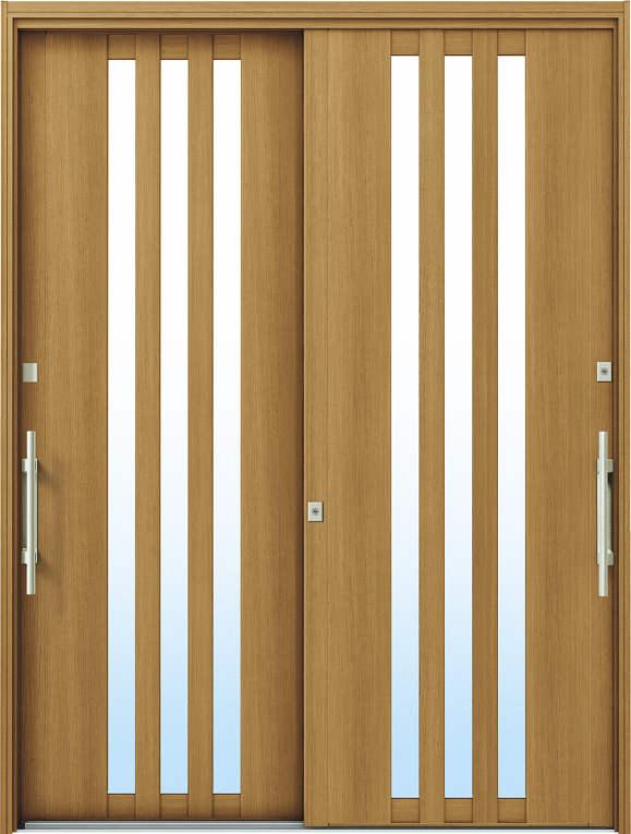 かんたんドアリモ 玄関引戸 洋風ベーシック B03 ランマ無 W7:ハニーチェリー 外側バーハンドル(シルバー)複層・単板ガラス仕様 NO.1061