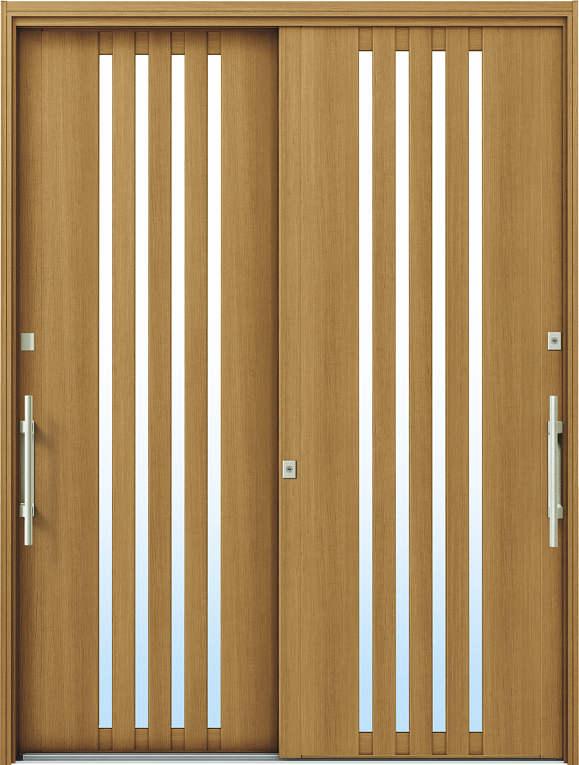 かんたんドアリモ 玄関引戸 洋風ベーシック B04 ランマ無 W7:ハニーチェリー 外側バーハンドル(シルバー)複層・単板ガラス仕様 NO.1076