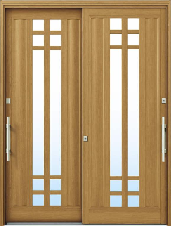 かんたんドアリモ 玄関引戸 洋風ベーシック B09 ランマ無 W7:ハニーチェリー 外側バーハンドル(シルバー)複層・単板ガラス仕様 NO.1068