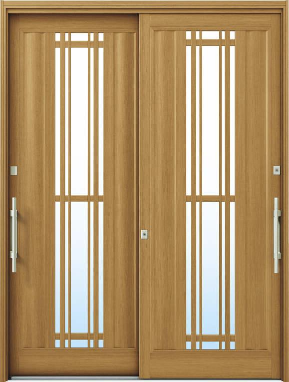 かんたんドアリモ 玄関引戸 洋風ベーシック B10 ランマ無 W7:ハニーチェリー 外側バーハンドル(シルバー)複層ガラス仕様 NO.1079