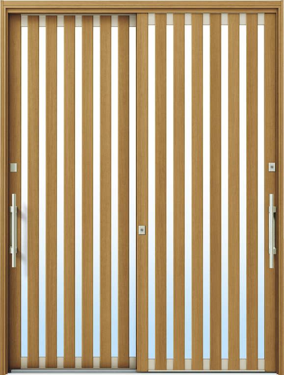 かんたんドアリモ 玄関引戸 現代和風 C01 ランマ無 W7:ハニーチェリー 外側バーハンドル(シルバー)複層・単板ガラス仕様 NO.1067