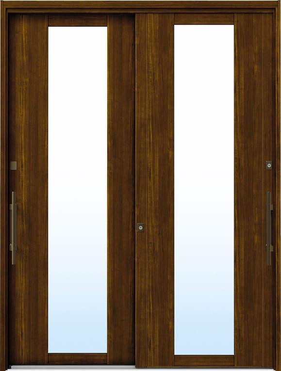 かんたんドアリモ 玄関引戸 洋風ベーシック B01 ランマ無 YF:キャラメルチーク 外側バーハンドル(ブロンズ)複層・単板ガラス仕様 NO.1050