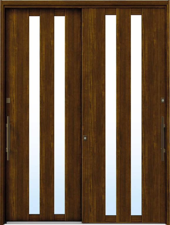 かんたんドアリモ 玄関引戸 洋風ベーシック B02 ランマ無 YF:キャラメルチーク 外側バーハンドル(ブロンズ)複層・単板ガラス仕様 NO.1077