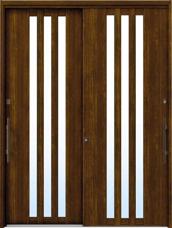 かんたんドアリモ 玄関引戸 洋風ベーシック B03 ランマ無 YF:キャラメルチーク 外側バーハンドル(ブロンズ)複層・単板ガラス仕様 NO.1062