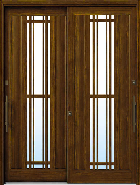 かんたんドアリモ 玄関引戸 洋風ベーシック B10 ランマ無 YF:キャラメルチーク 外側バーハンドル(ブロンズ)複層ガラス仕様 NO.1080