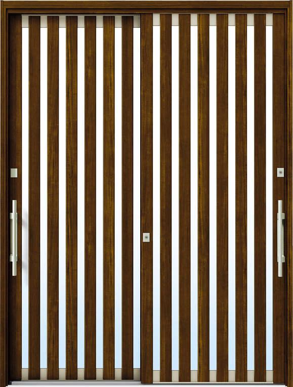 かんたんドアリモ 玄関引戸 現代和風 C01 ランマ無 YF:キャラメルチーク 外側バーハンドル(シルバー)複層・単板ガラス仕様 NO.1055
