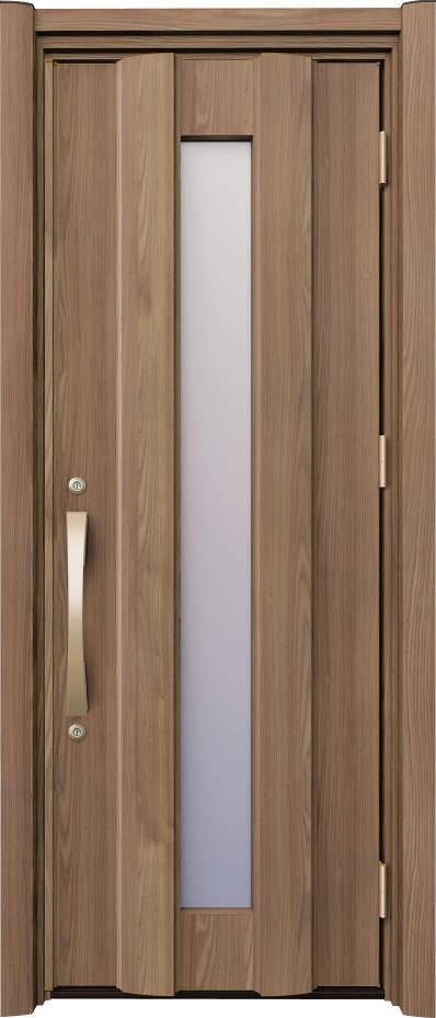 ノバリス リフォーム玄関ドア 断熱仕様K4 スリット採光 ランマ無片開きドア A13 シナモンエルム(NE) ハンドル:アーチタイプ(ゴールド) NO.2048