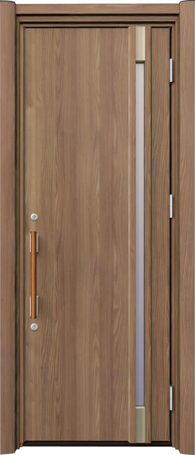 ノバリス リフォーム玄関ドア 断熱仕様 スリット採光 ランマ無片開きドア A20 シナモンエルム(NE) ハンドル:木目調バー NO.2049