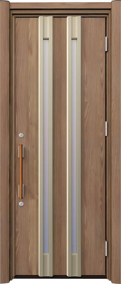 ノバリス リフォーム玄関ドア 断熱仕様 スリット採光 ランマ無片開きドア A25 シナモンエルム(NE) ハンドル:木目調バー NO.2050