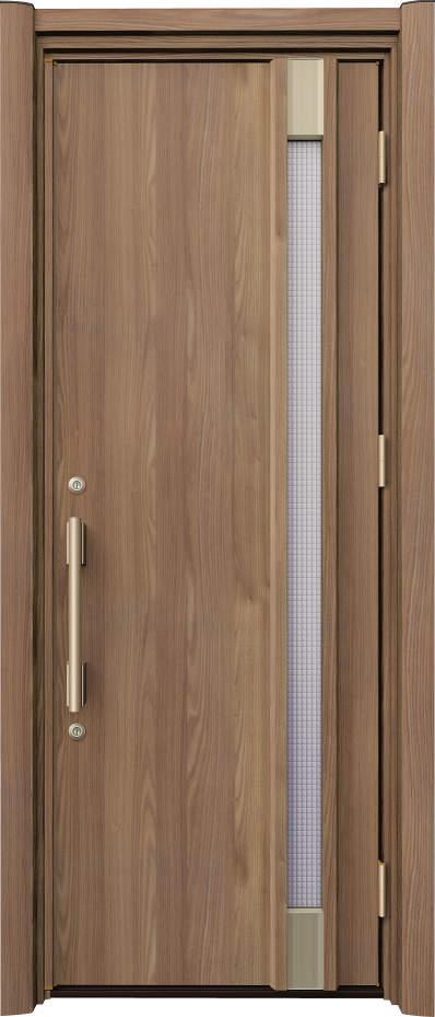 ノバリス リフォーム玄関ドア 断熱仕様 スリット採光 ランマ無片開きドア A32 シナモンエルム(NE) ハンドル:バータイプ(ゴールド) NO.2064