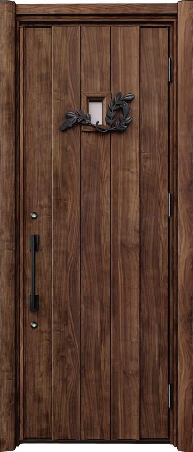 ノバリス リフォーム玄関ドア 断熱仕様 上部採光 ランマ無片開きドア C11 スモークナット(JN) ハンドル:ソリッドタイプ(ブラック) NO.2067