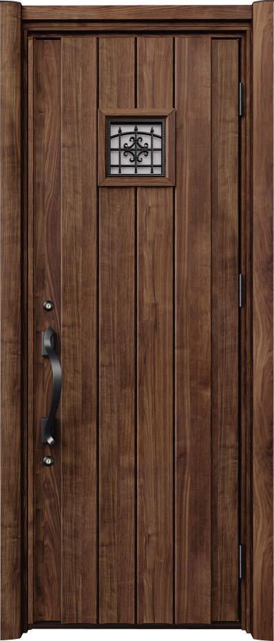 ノバリス リフォーム玄関ドア 断熱仕様 上部採光 ランマ無片開きドア C13 スモークナット(JN) ハンドル:洋風タイプ(ブラック) NO.2068