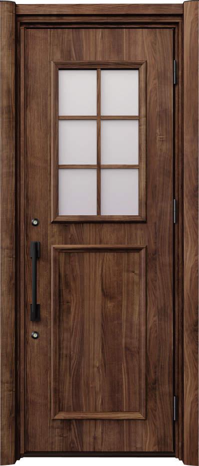 ノバリス リフォーム玄関ドア 断熱仕様 上部採光 ランマ無片開きドア C14 スモークナット(JN) ハンドル:ソリッドタイプ(ブラック) NO.2054