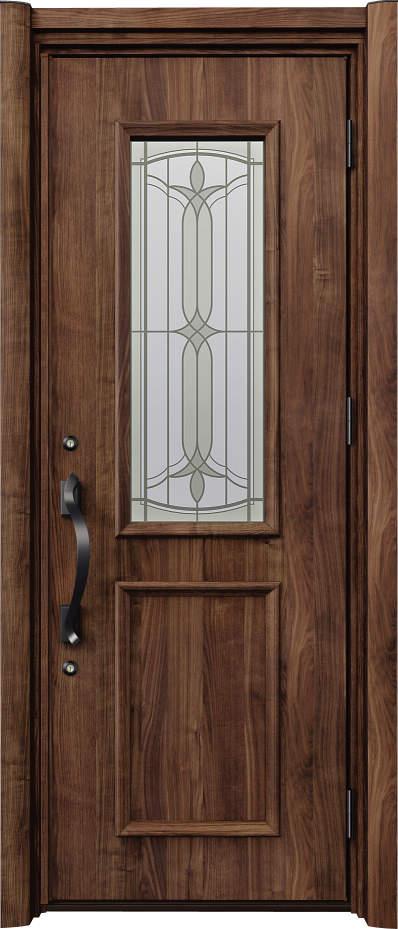 ノバリス リフォーム玄関ドア 断熱仕様 上部採光 ランマ無片開きドア C81 スモークナット(JN) ハンドル:洋風タイプ(ブラック) NO.2055