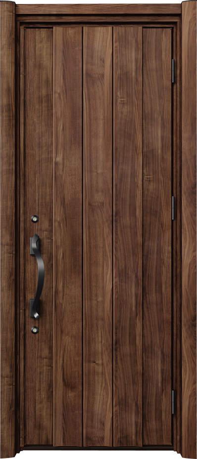 ノバリス リフォーム玄関ドア 断熱仕様 プレーン ランマ無片開きドア D16 スモークナット(JN) ハンドル:洋風タイプ(ブラック) NO.2056