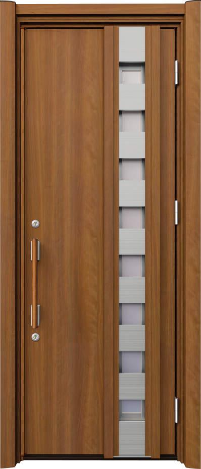 ノバリス リフォーム玄関ドア 断熱仕様 採風ドア ランマ無片開きドア H12 オレンジチェリー(JC) ハンドル:木目調バー NO.2061