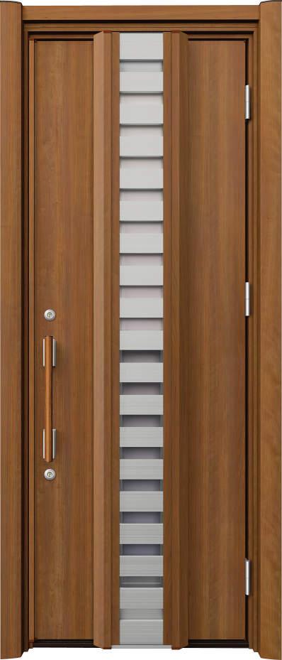 ノバリス リフォーム玄関ドア 断熱仕様 採風ドア ランマ無片開きドア H81 オレンジチェリー(JC) ハンドル:木目調バー NO.2062