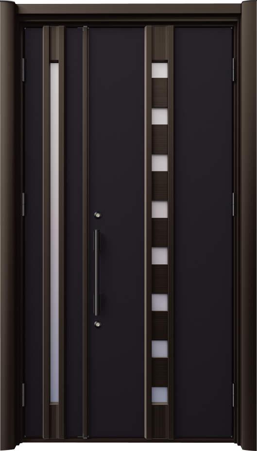 ノバリス リフォーム玄関ドア 断熱仕様 小窓採光 ランマ無親子ドア B11 ホットブラウン(BKC) ハンドル:バータイプ(ブラック) NO.2006